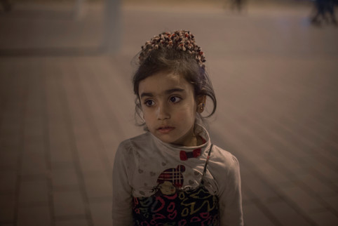 Fatma, 6, from Aleppo has just taken a break after a long day of begging for money on Taksim Square in Istanbul, Turkey, April 28, 2016.
