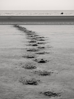 footsteps in the sand bw-