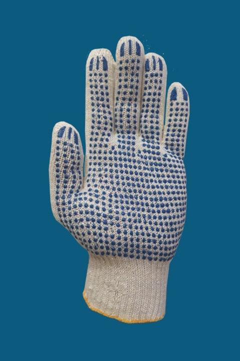 Перчатки ПВХ точка цвет белый 10 класс 5-нитка