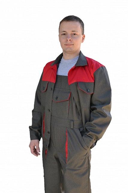 Костюм № 106-С с П/К (ткань саржа, серый + красный)