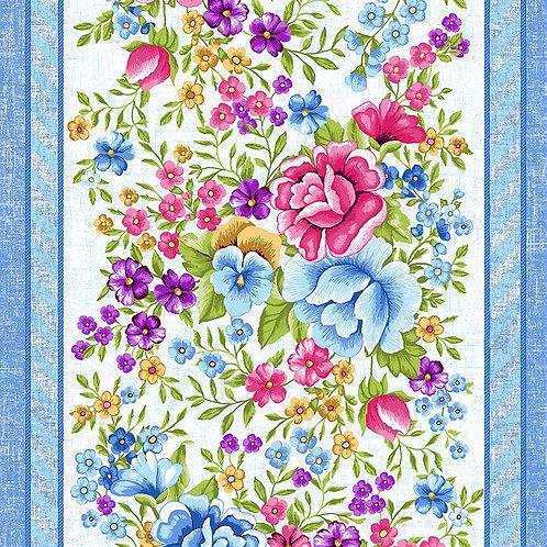 Полотно вафельное 50 см набивное арт 60 Тейково рис 5618 вид 1 Цветочная вышивка