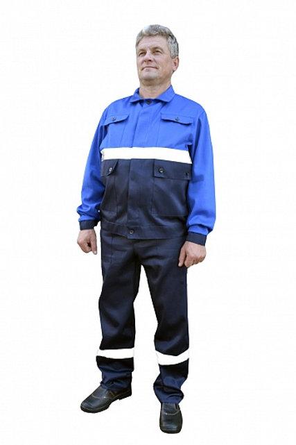 Костюм № 105 с СОП (ткань смесовая, синий + василек)