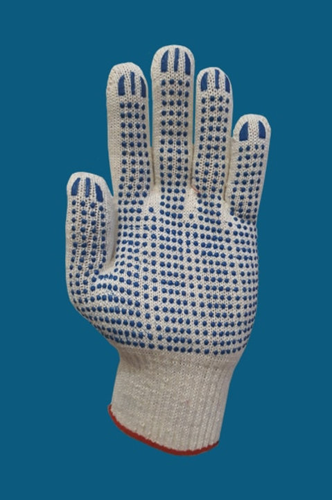 Перчатки 4-нитка ПВХ точка цвет белый 10 класс