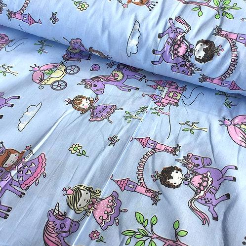 Поплин 150 см 1805/1 Маленькие принцессы цвет голубой