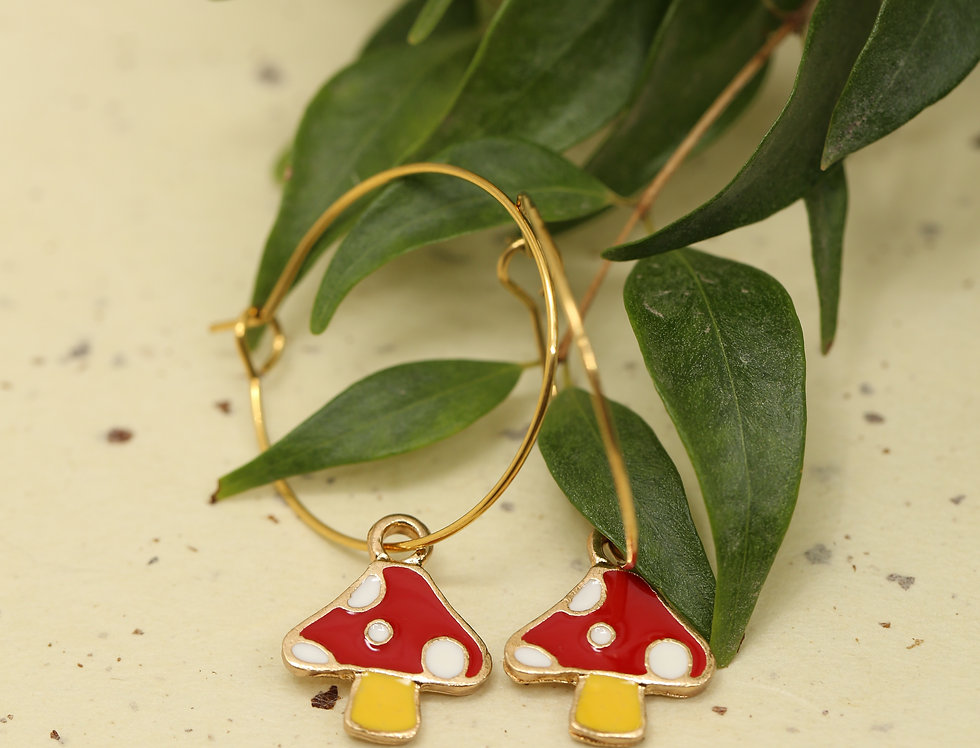 Red mushrooms on loop earrings