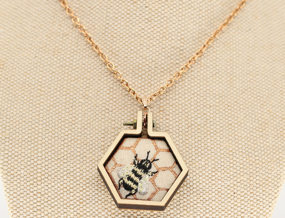 Bee on hive embroidered necklace