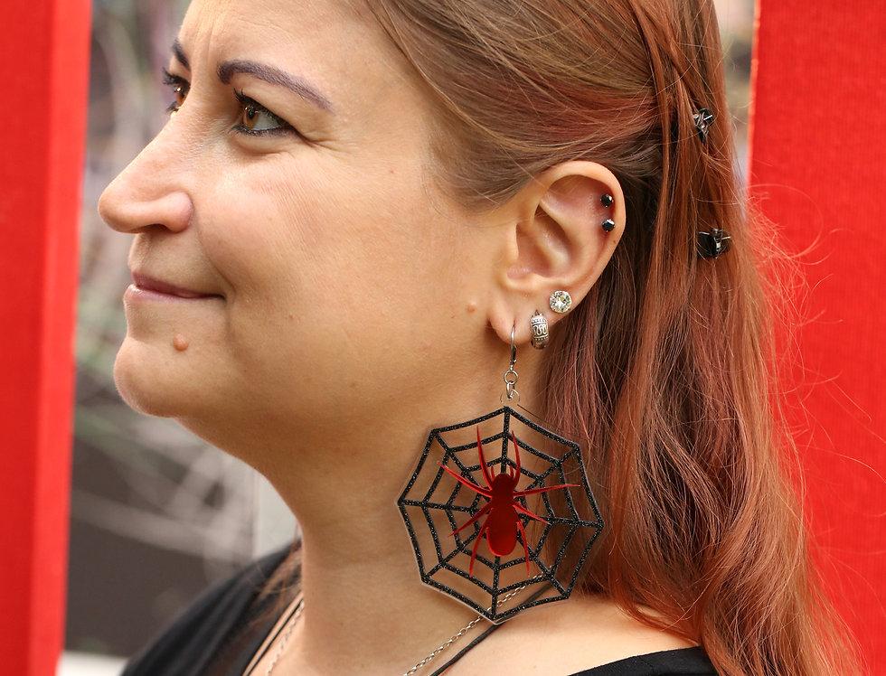 Spiderweb large acrylic earrings