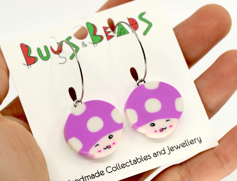 Cute mushrooms earrings on loop