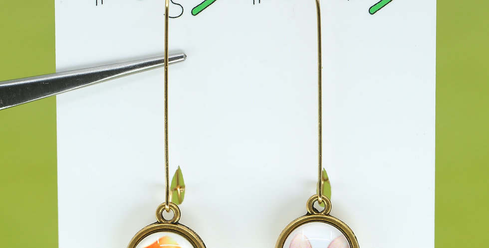Gold Orange and Rose mushrooms double-sided earrings