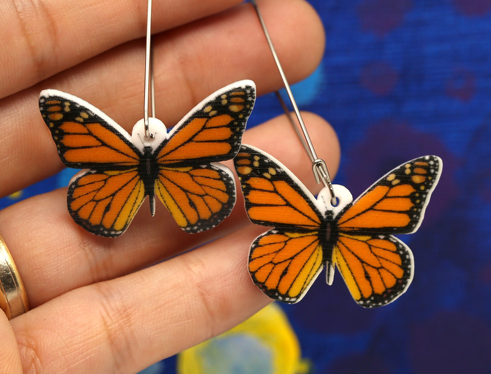 Monarch Butterflies Acrylic Earrings