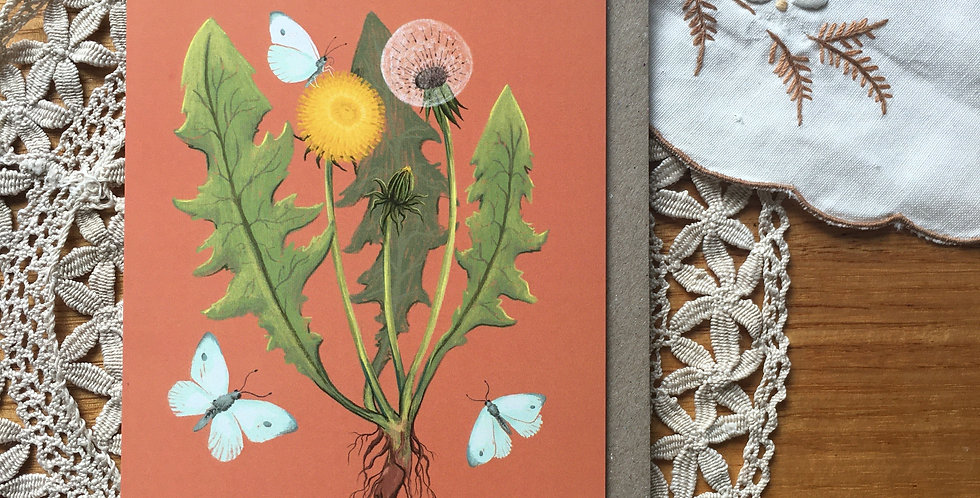 Dandelion and Cabbage Moths Greeting Card