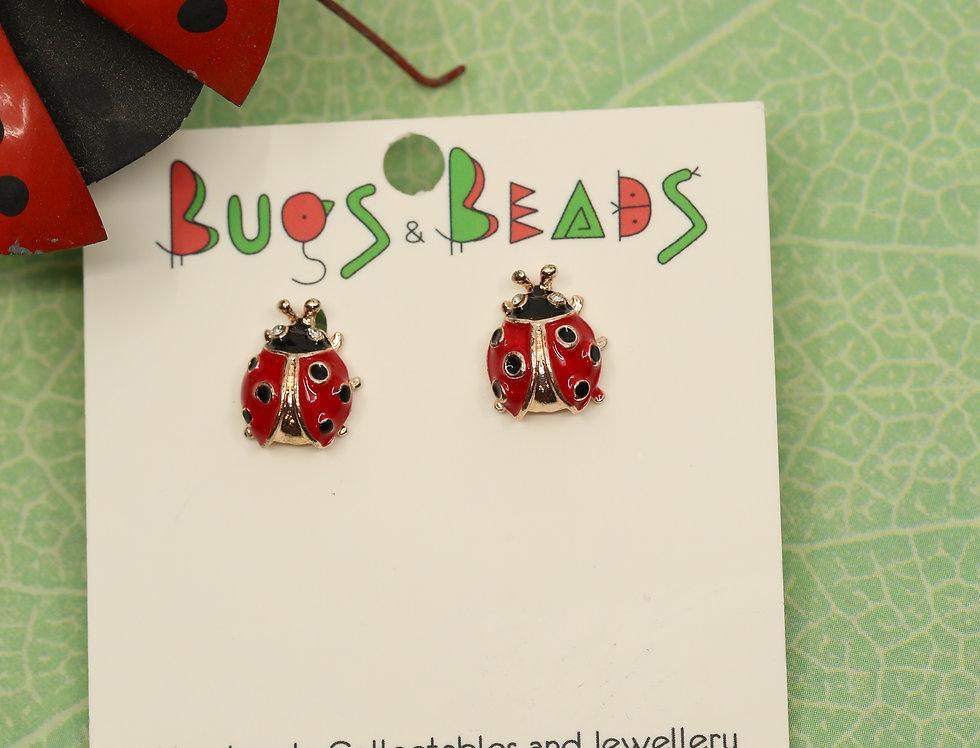 Ladybird beetle Studs - Red