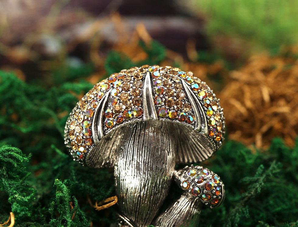 Silver-tone Mushroom Brooch