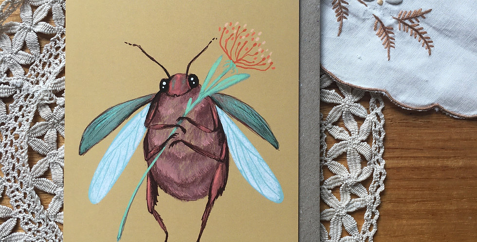 Cute Beetle Greeting Card
