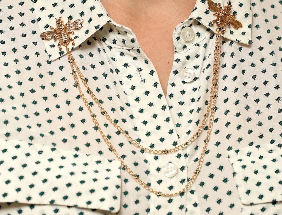Brass bee double brooch