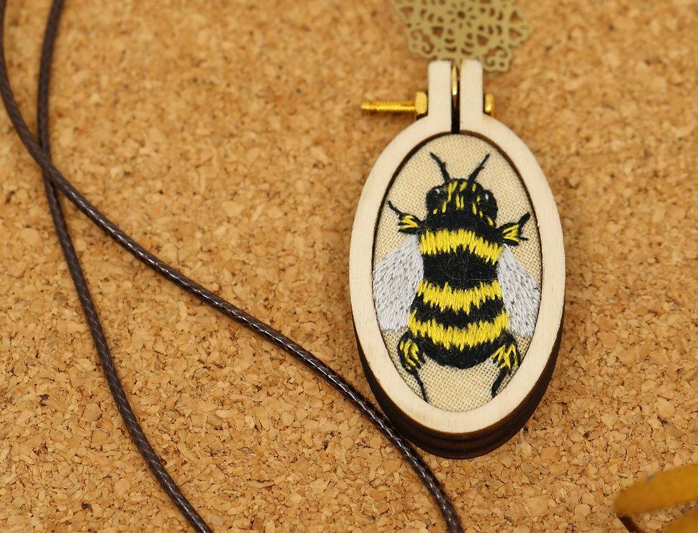 European Honey Bee Embroidered Pendant