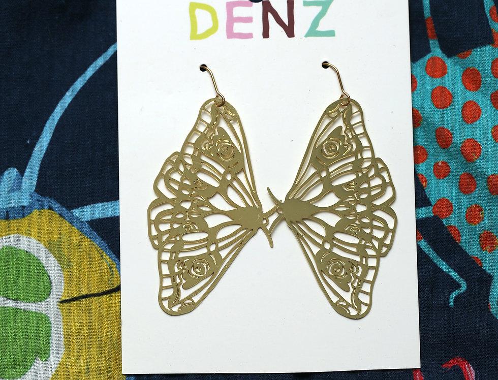 Moths in Gold Earrings