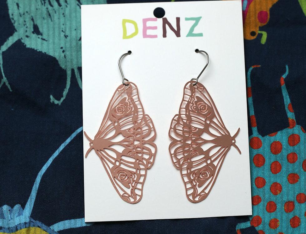 Moths in Rose Gold Earrings