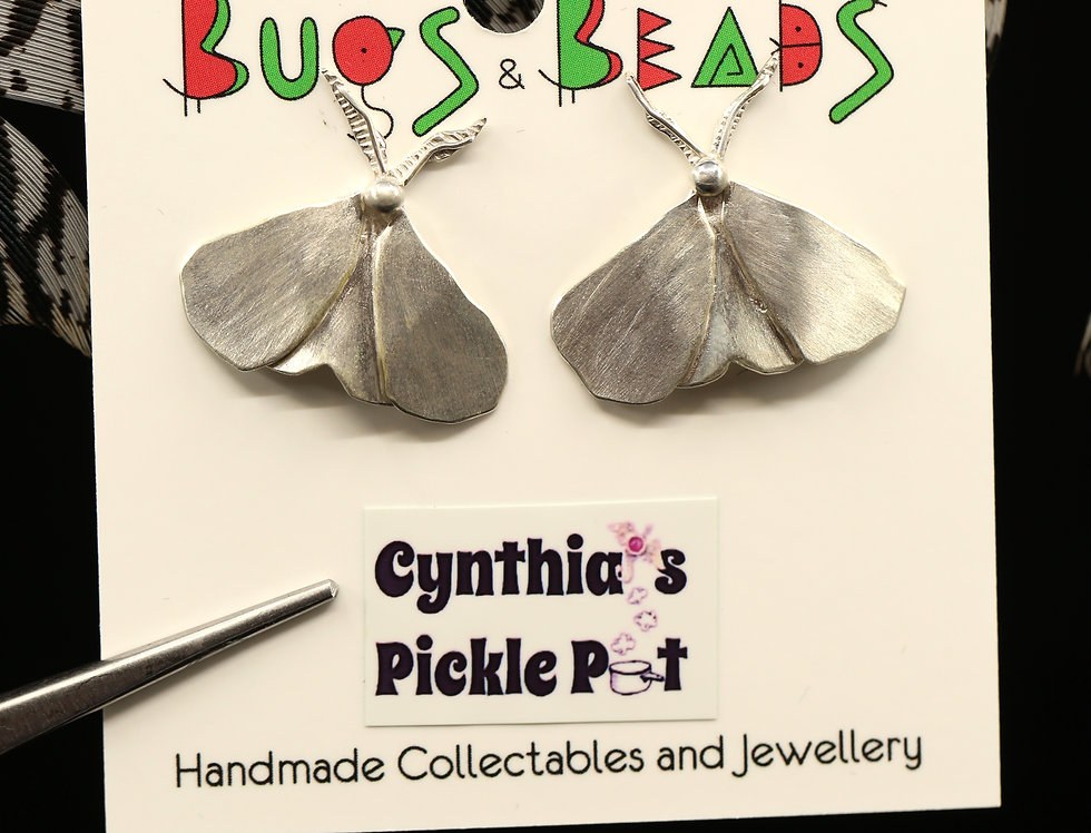 Disco Moth Sterling Silver Earrings