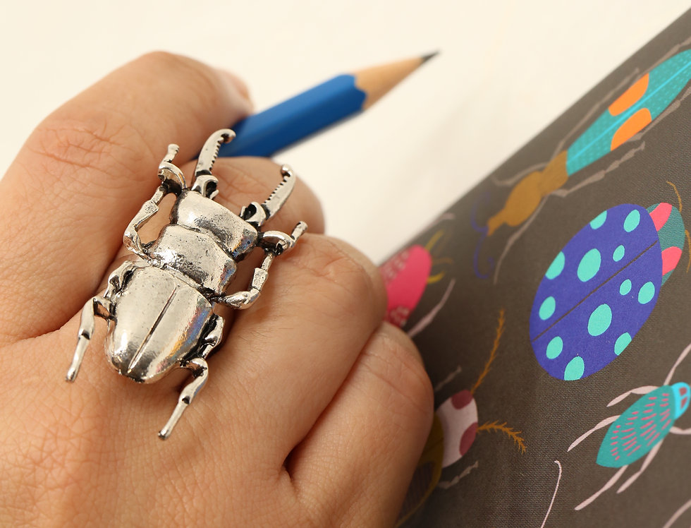 Silver Stag Beetle Ring - Adjustable