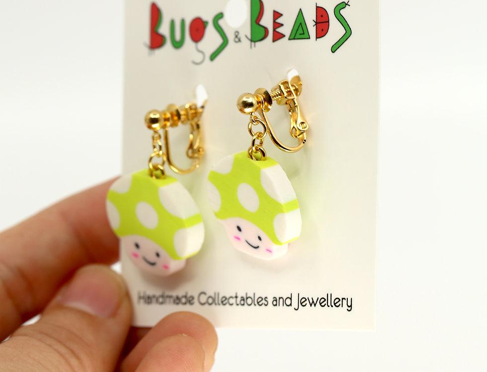 Cute mushroom clip-on earrings
