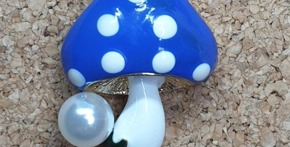 Blue Mushroom Brooch