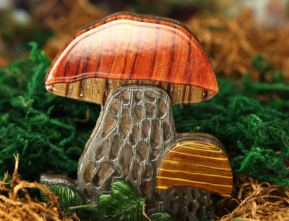 Orange Acrylic Mushroom Brooch