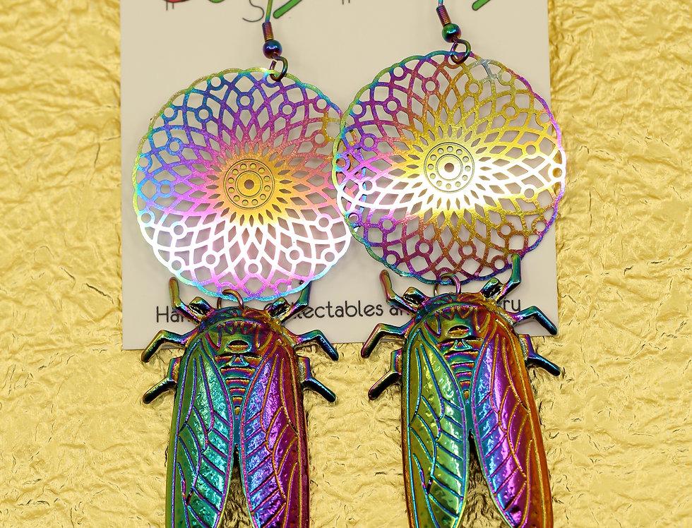 Rainbow dream catcher cicada earrings