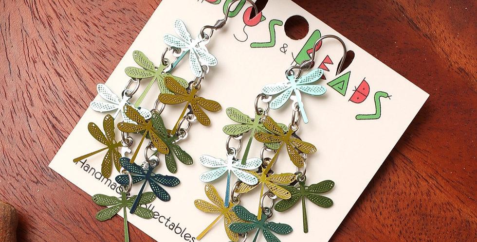 Green Dragonflies dangle earrings