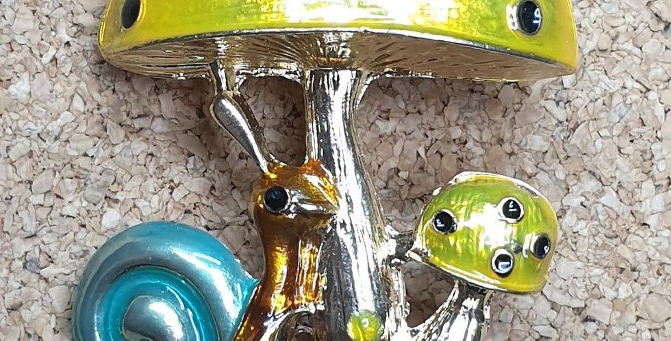 Yellow Mushroom & Snail Brooch