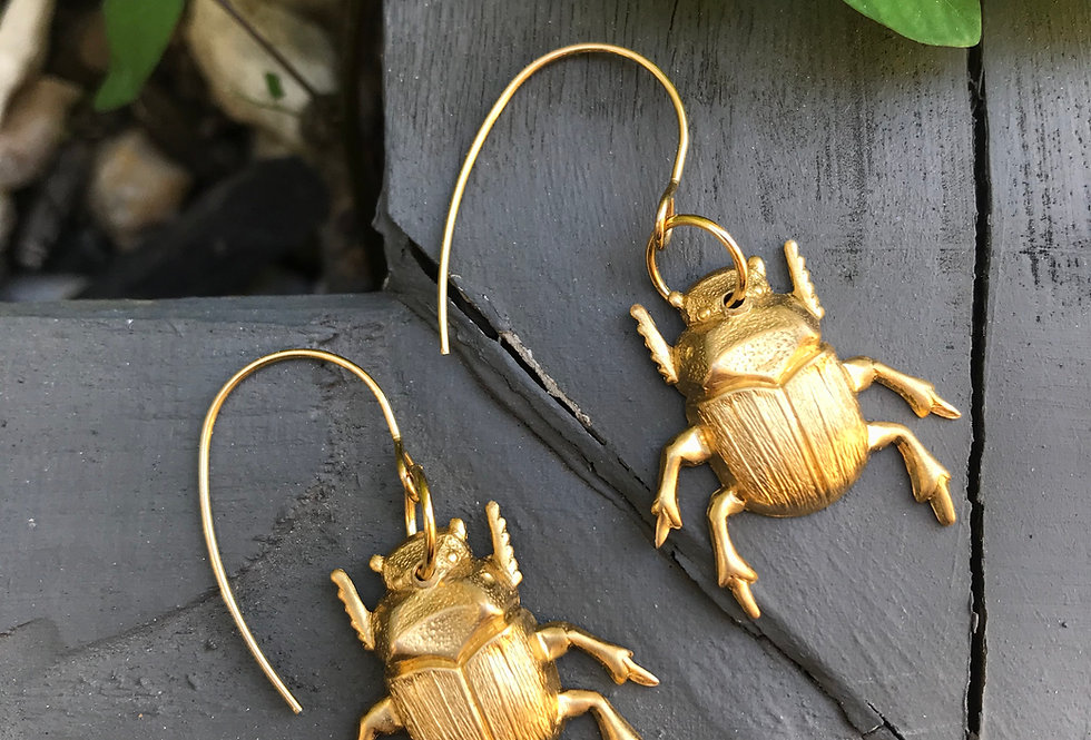 Dung Beetles on short hooks - Brass & Stainless Steel