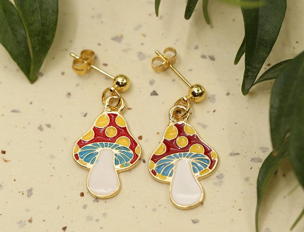 Amanita cartoon golden stud earrings