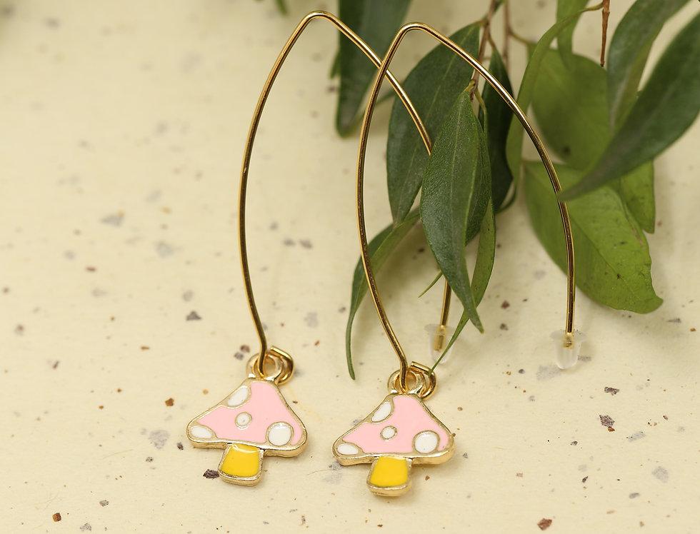Pink mushroom on long hook earrings