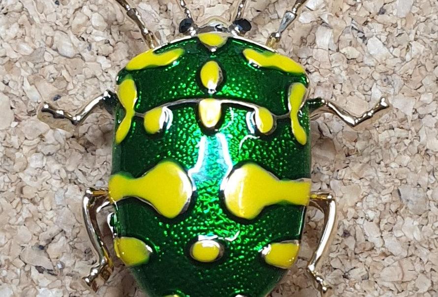 Stink Bug Brooch - Yellow & Green