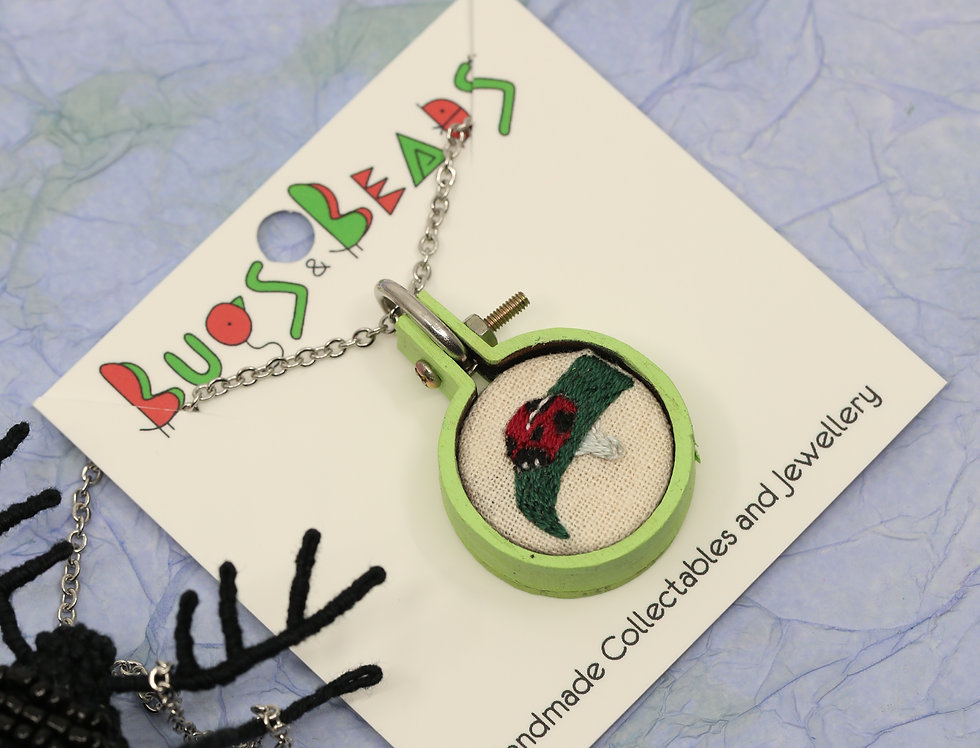 Cute ladybird beetle embroidered necklace