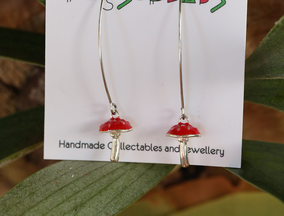 Amanita on long maquis hooks earrings