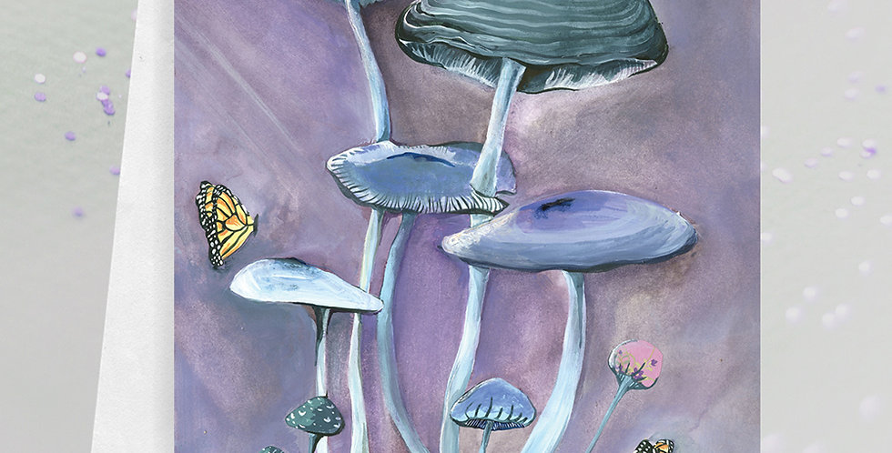 Mushroom with Butterflies Greeting Card