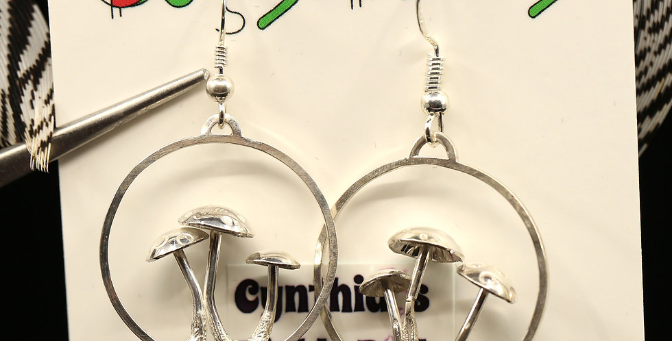 Magic Mushrooms Sterling Silver Dangles