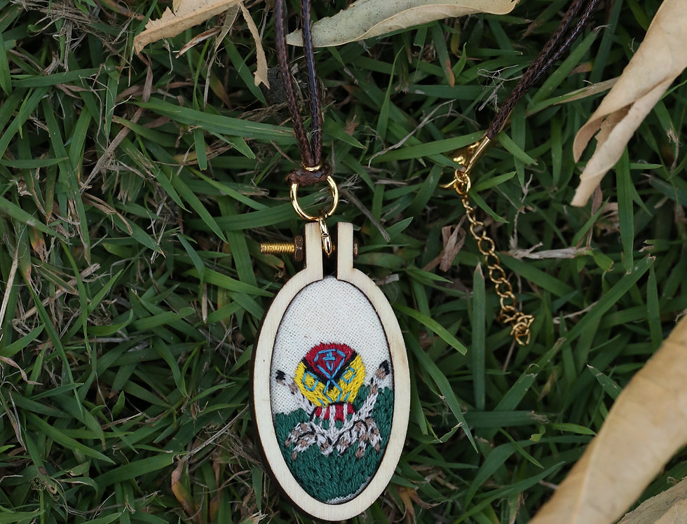 Medium Peacock Spider embroidered pendant necklace