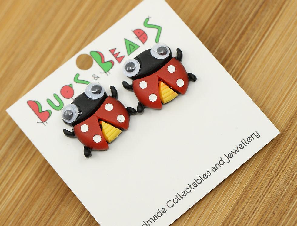 Googly ladybird stud earrings