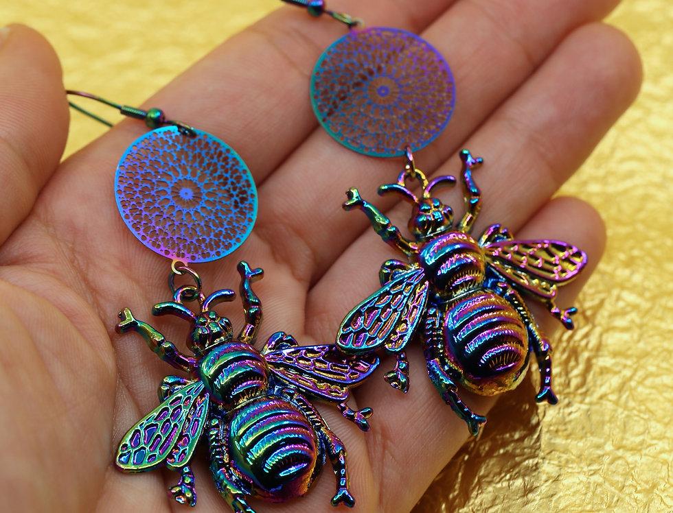 Rainbow nebula bees earrings