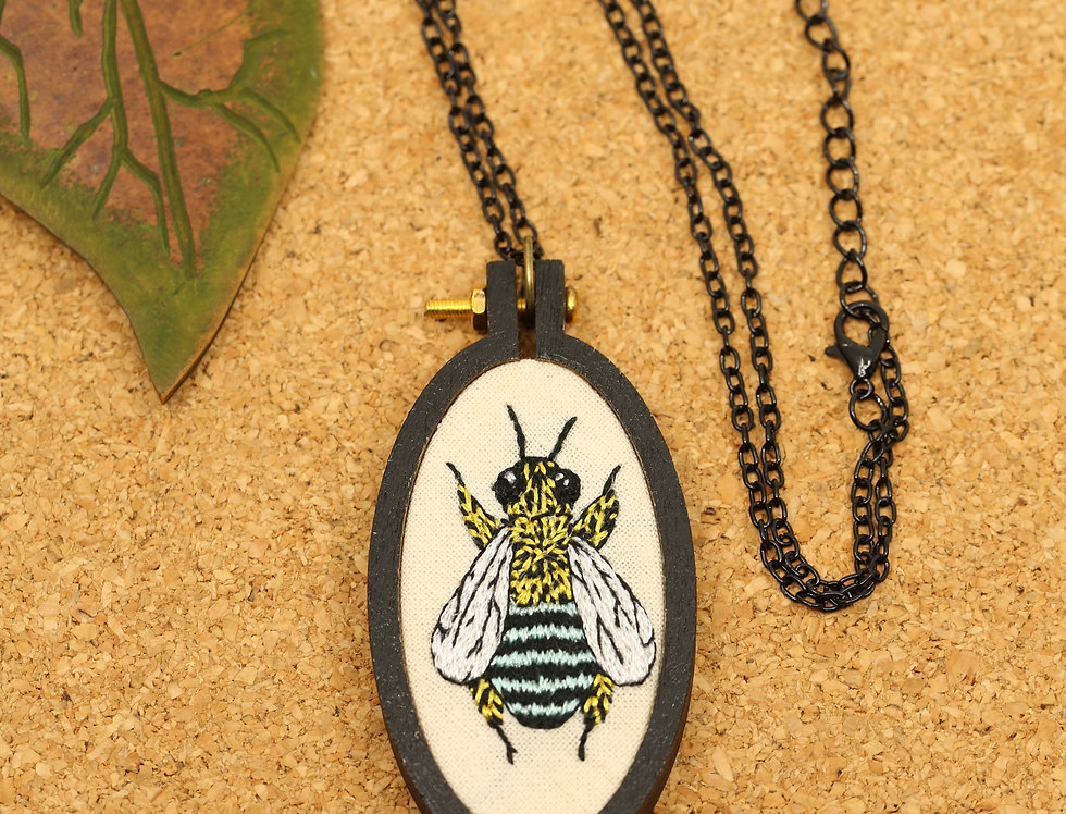 Metallic Blue-banded bee embroidered necklace