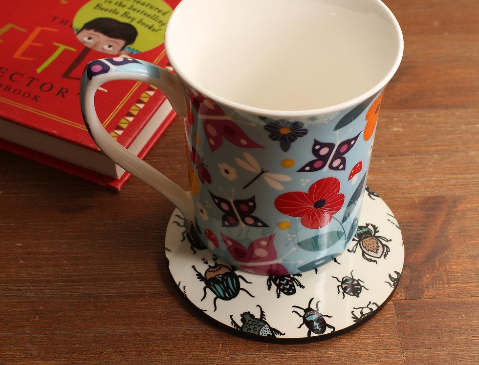 Round Beetle Coasters - Set of 4