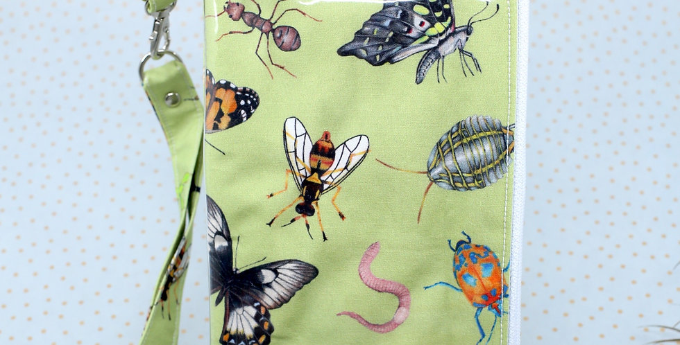 Green Australian Native Insects 3-in-one phone clutch wallet