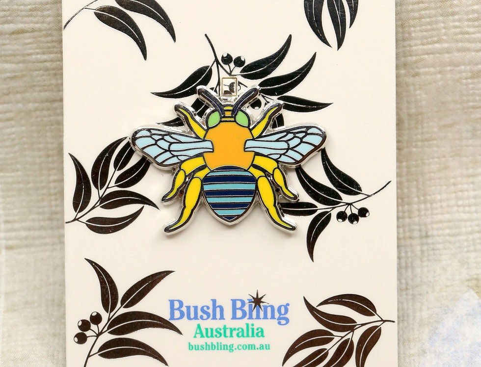Blue banded bee pin