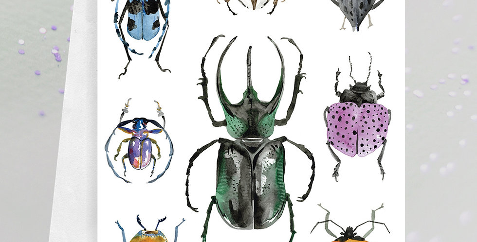 Collection of beetles and one bug Greeting Card