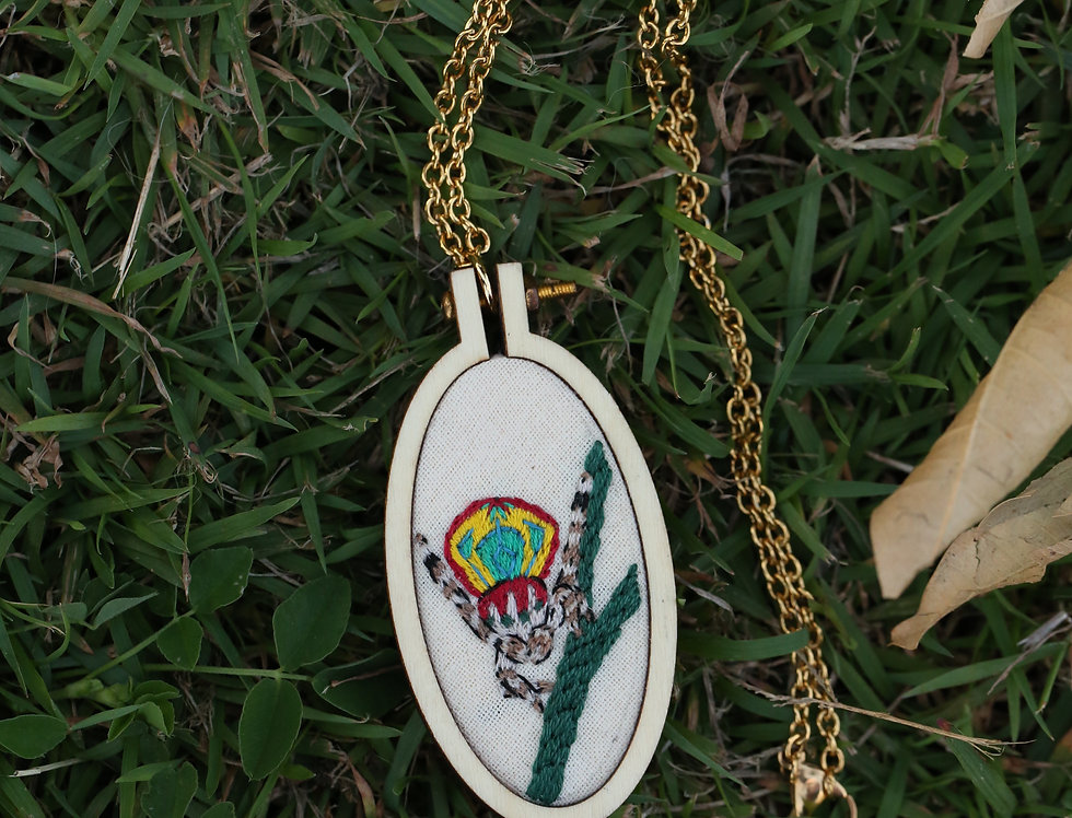 Large Peacock Spider embroidered pendant
