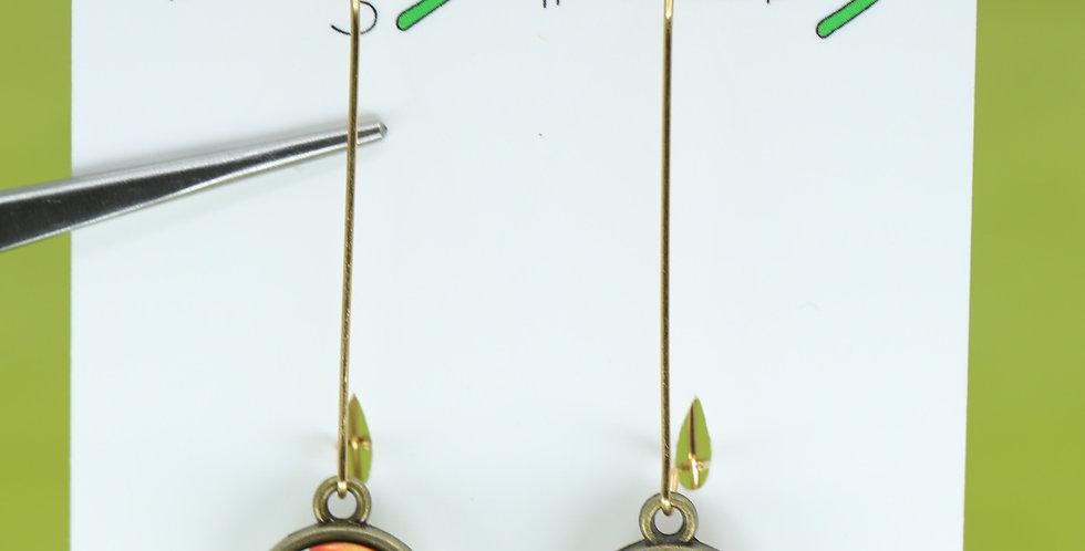 Bronze Orange and rose mushrooms double-sided earrings