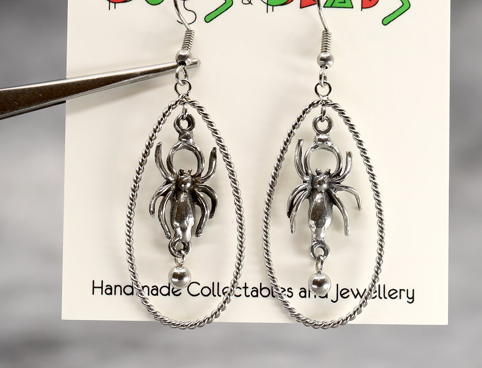 Spider & egg sac earrings