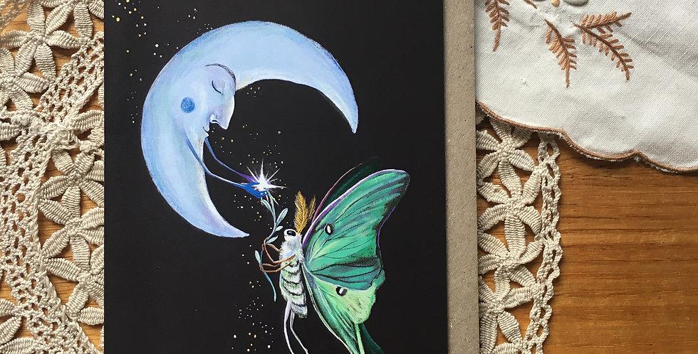 Luna Moth and Moon Greeting Card